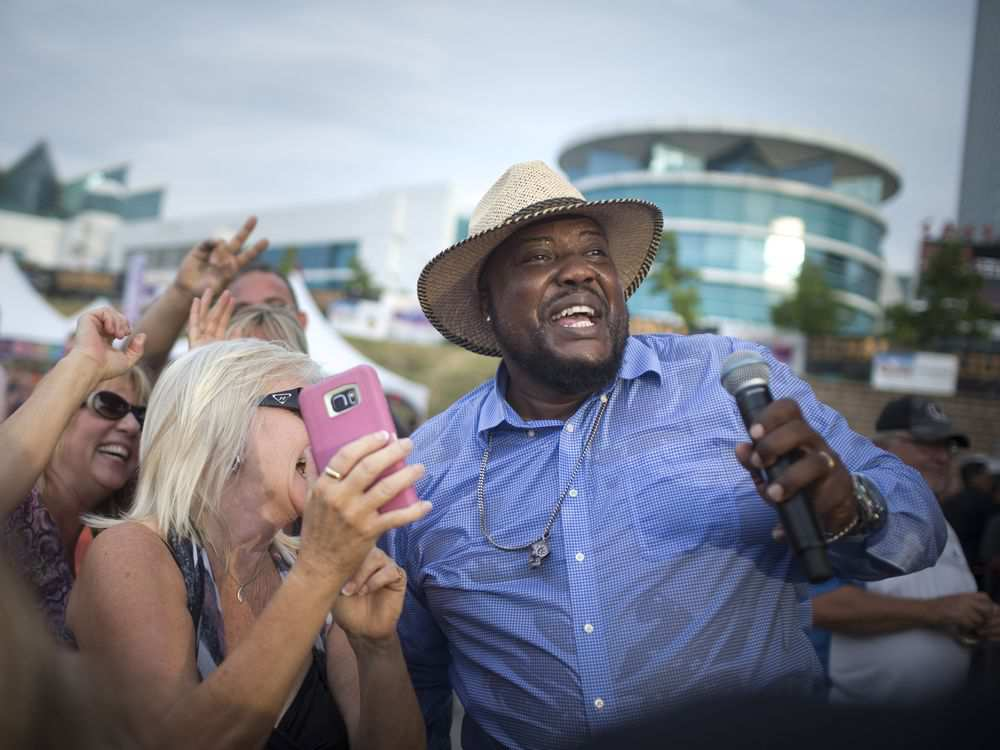 Sugar Ray Rayford wades into the crowd during a song as she performs on the third night of the LiUNA Bluesfest Windsor at the Riverfront Festival Plaza, Saturday, July 14, 2018. DAX MELMER / WINDSOR STAR